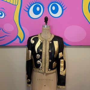 Moschino Black Gold Leather Jacket Peace Sign